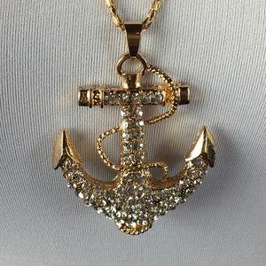 Betsey Johnson Necklace Gold Rhinestone Anchor